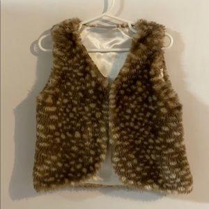 Hanna andersson brown deer spot fur vest size 4